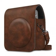 Fintie Protective Case Compatible with Fujifilm Instax Mini 90 Neo Classic Instant Film Camera Premium Vegan Leather Bag Cover with Removable Strap, Vintage Brown
