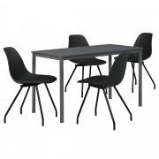 [en.casa]® Dizajn blagovaonski set - stol (tamno sivi, 140x60cm) - sa 4 stolice(crne)