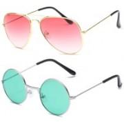 SRPM Aviator, Round Sunglasses(Pink, Green)
