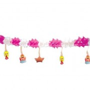 Geen Decoratie slinger roze/wit prinsesjes 300 cm