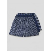 Matalan Mens 3 Pack Check Woven Boxers in Large, Blue