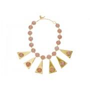 Tory Burch Triangle Stone Statement Necklace Pink QuartzVintage Gold