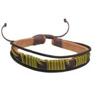 Sullery Stylish Biker Multicolour Leather Bracelet For Men And Women