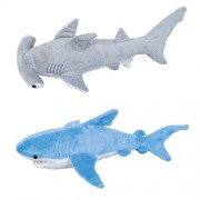 "ADVENTURE PLANET - Set of 2 Plush 13"" SHARKS - BLUE Shark & HAMMERHEAD Shark - Stuffed Animal - OCEAN Life - Soft Cuddly Shark Week TANK TOY Gift"