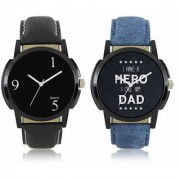 LEBENZEIT New Black And Blue Leather Belt Analog Best Designing Stylist Combo Lorem Watch For Men Boys