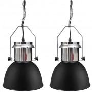 vidaXL 2 db fekete, állítható magasságú, modern, fém mennyezeti lámpa