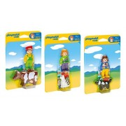 Playmobil Friends and Animals Playset Bundle with Farmer & Cow - Woman & Dog - Woman & Cat