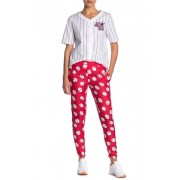 LOVE Moschino Baseball Logo Print Tapered Pants BASEBALL RED W