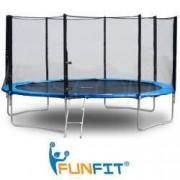 Trambulina FunFit pentru Copii Diametru 183cm 6FT Capacitate 90kg Plasa Laterala cu Fermoar