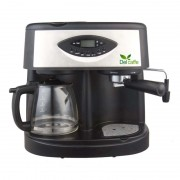 Espressor Del Caffe CoffeeShot 3 in 1, 1850 W, 15 bari, 1.25 l, functie spumare, programare, Negru/Inox