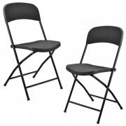 Комплект от 2 броя сгъваеми столове за къмпинг 47 x 39 x 87 cm, Тъмносиви [casa.pro]®