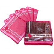 Addyz Plain pack of six saree salwar cloths cover keep 2 saree storage organizers cases(Pink)