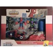 Marvel Playskool Super Hero Adventures Villain Showdown Exclusive Launcher Showdown 3-Pack Spider-Man Green Goblin & Rhino [with Cycle & Launcher]