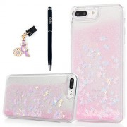 YOKIRIN iPhone 7 Plus Case,Clear Floating Luxury Hard PC Plastic Shell Bling Glitter Sparkle Powder Quicksand Snowflake Flowing Liquid Cover for iPhone 7 Plus with Dust Plug & Stylus Pen - Pink