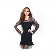 vestido de mangas largas estilo transparente de color negro