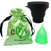 De Groene Cup herbruikbare menstruatiecup + Magnetron sterilisator (Maat: Model III (Medium OSFA))