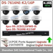 Hikvision Video Surveillance System NVR DS-7616NI-K2/16P+ 8pcs Hikvision DS-2CD2125FWD-IS 2MP Dome Camera H.265 IP Camera