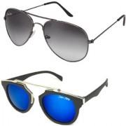 Silver Kartz Combo of 2 Wayfarer Unisex Sunglasses(scm28//Black//Blue)