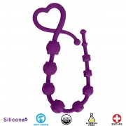 Hearts n Studs Silicone Anal Beads - Purple