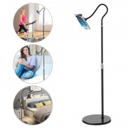 BX-53 Adjustable Height 360° Rotatable Tablet Mobile Phone Floor Stand Flexible Lazy Phone Bracket - Black