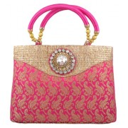 Freddy's Magenta Coloured Silk Ethnic Handbag With Stone Work