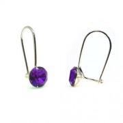 925 ezüst fülbevaló ékszer Swarovski® kristállyal - vékony, Tanzanite