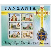 Tanzania 1990 Issue Miniature Sheet 6v Stamps Visit of Pope John Paul II cathedrals