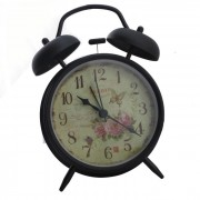 Butterfly Style Vintage y flores Patron Doble Alarma Bell - Negro
