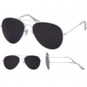 Merkloos Aviator zonnebril wit met zwarte glazen voor volwassenen
