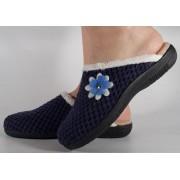 Papuci de casa bleumarin din plus raiat dama/dame/femei (cod 115226)