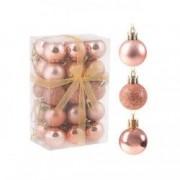 Set globuri Craciun pentru brad din plastic 3cm 30 buc roz