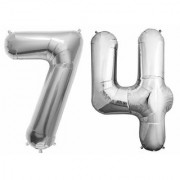 De-Ultimate Solid Silver Color 2 Digit Number (74) 3d Foil Balloon for Birthday Celebration Anniversary Parties