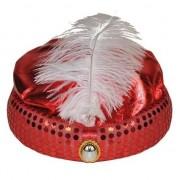 Merkloos Rood Arabisch Sultan hoedje met diamant en veer