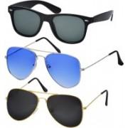 Freny Exim Aviator, Wayfarer Sunglasses(Grey, Blue, Black)