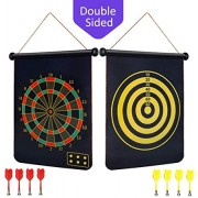 "BabyNora Magnetic Dart Board, 15"" Double-Sided 2 Magnetic Dart Game Set with 8 Magnetic Darts Safety, Indoor Outdoor Games Office Sport Leisure Board Games for Adults Kids"