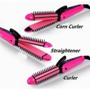 3 in 1 Electric Hair Styler - Hair Straightener Hair Curler and Hair Crimper in one - NHC 8890