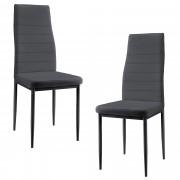 [en.casa]® Тапициран стол с еко кожа - комплект от 2 броя столове - Сиви