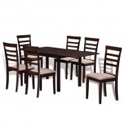 vidaXL Klaffbord med 6 stolar i solitt trä mörkbrun och gräddvit