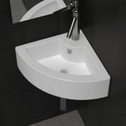 vidaXL Lavatório cerâmica branco de canto com torneira e orifício descarga