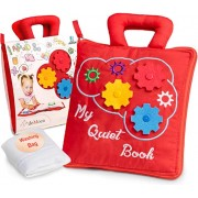 deMoca Montessori Activity Quiet Book Toddlers Travel Toys Soft Busy Book Early Preschool Learning Sensory How to Basic Life Skills Activities for B
