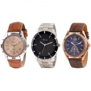 Timebre Men Steel Leather Exotic Analog Watches Combo-119