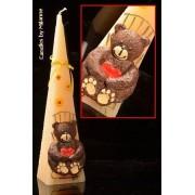Designkaarsen com Beertje, Piramide, CREME, H: 30 cm - kaarsen