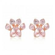 Tappancs formájú rózsaarany színű fülbevaló rózsaszín cirkónia kristállyal