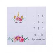 YeahiBaby Monthly Milestone Blanket Newborn Photography Unicorn Background Baby Shower Props