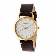 Simplify The 2800 Leather-Band Watch - Gold/Dark Brown SIM2805
