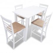 vidaXL Комплект бяла дървена конзолна маса и 4 бар стола
