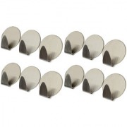 FS Self Adhesive Stainless Steel Hooks for your Kitchen Bathroom Lining Room and - 12 pcs