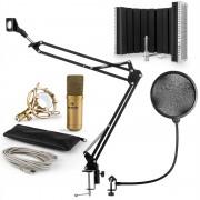 Auna MIC-900G, USB микрофонен комплект V5, кондензаторен микрофон, pop filter, стойка за микрофон, параван, златен (60001975-V5)