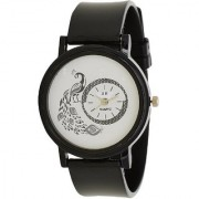 Glory Black New Style Peacock Dial Fancy Collection PU Analog Watch - For Women By Prushti