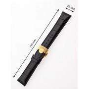 Curea de ceas Perigaum 22 x 175 mm neagra goldene Faltschliesse